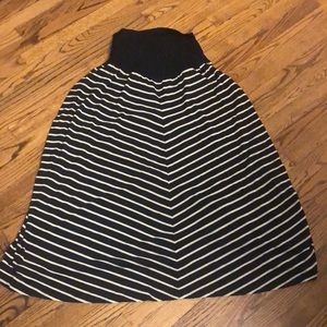 🤰Black/Taupe Stripe Skirt MOTHERHOOD Maternity-1X